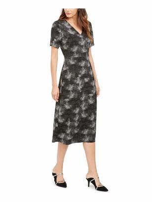 Alfani Womens Black Patterned Short Sleeve V Neck Tea-Length Blouson Formal Dress Size: S