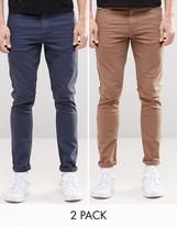 Asos 2 Pack Super Skinny Jeans