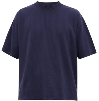 YMC Triple Oversized Ribbed-cotton T-shirt - Mens - Navy