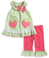 Nannette Little Girls Seersucker Strawberry Dress and Leggings Set