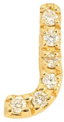 Nephora 14K Yellow Gold & Diamond Initial J Single Stud Earring