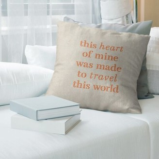 "East Urban Home Handwritten Travel Love Quote Pillow Color: White/Orange, Size: 26"" x 26"""