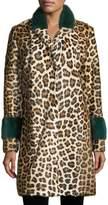 Simonetta Ravizza Animal-Print Button-Front Top Coat w/ Mink Cuffs