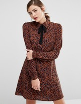 Fashion Union Shirt Dress With Ribbon Tie Neck In Animal Print