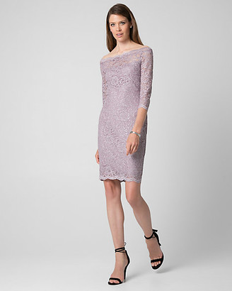 Le Château Sparkle Lace Off-the-Shoulder Dress