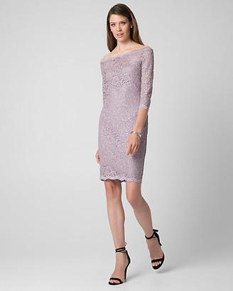 Le Château Sparkle Lace Off-the-Shoulder Dress