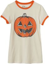 Mighty Fine Girls 7-16 Jack-o'-Lantern Halloween Ringer Graphic Tee