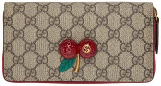 Gucci Beige GG Cherries Zip Wallet