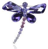 Alilang Tanzanite Abstract Dragonfly Body Swarovski Crystal Rhinestone Pin Brooch
