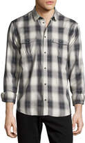 IRO Albion Check-Plaid Long-Sleeve Sport Shirt, Gray/White