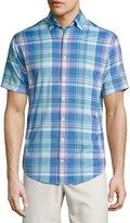 Peter Millar Colt Performance Plaid Short-Sleeve Shirt, Blue