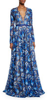 Naeem Khan Long-Sleeve Scalloped Lace Gown, Royal Blue