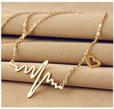 Bestpriceam New Women EKG Necklace Heartbeat Rhythm with Love Heart Shaped (Gold)