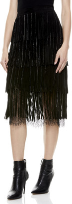 Alice + Olivia Misha Suede Fringe Midi Skirt