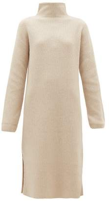 The Row Funnel-neck Ribbed Wool-blend Sweater Dress - Womens - Ivory