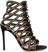 Gianvito Rossi Embroidered Suede Sandals - Black