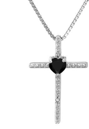 Sterling Silver Black Onyx & Diamond Accent Cross Pendant Necklace