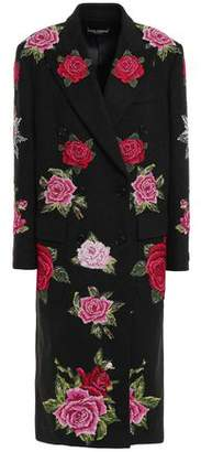 Dolce & Gabbana Double-breasted Embroidered Wool And Cashmere-blend Felt Coat
