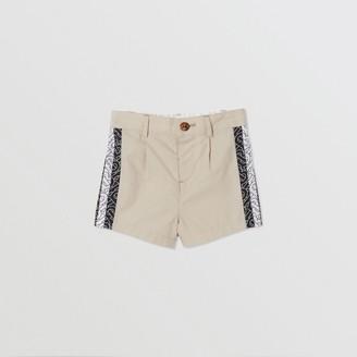 Burberry Monogram Stripe Print Cotton Tailored Shorts