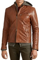 John Varvatos Double Zip Lasered Leather Jacket