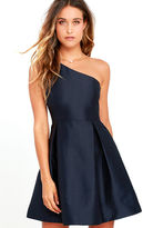 Do & Be Unconditional Love Navy Blue One Shoulder Skater Dress