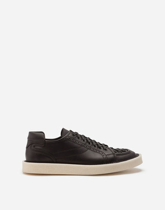 Dolce & Gabbana Calfskin Nappa Modigliani Lace-Up Sneakers