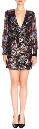 Pinko Stupefare Short Dress In Fil Coupe With Floral Pattern