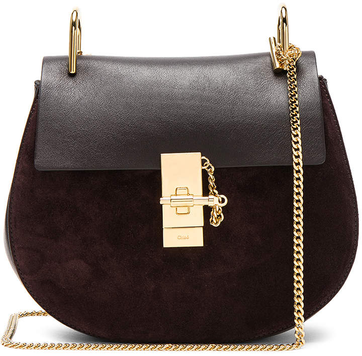Chloé Small Drew Suede & Calfskin Shoulder Bag in Carbon Brown | FWRD