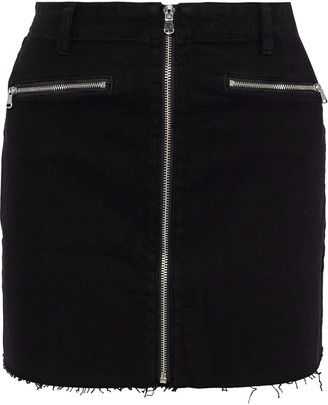 J Brand Moto Zip-detailed Denim Mini Skirt