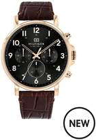 Tommy Hilfiger Tommy Hilfiger Daniel Black And Carnation Gold Chronograph Dial Brown Croc Leather Strap Mens Watch