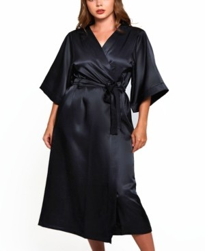 iCollection Women's Plus Size Luxury Long Robe with Kimono Style Sleeves