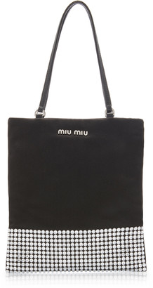 Miu Miu Raso-Embellished Satin Mini Top Handle Bag