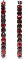 Givenchy Earrings In Gunmetal-tone Brass And Burgundy Crystal - one size
