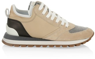 Brunello Cucinelli Monili-Trimmed Suede & Leather Sneakers