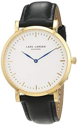 Lars Larsen Women's Quartz Watch with White Dial Analogue Display and Black Leather Strap 144GWBLL