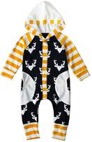 Tomfree Bby Boys Girls Deer Pttern Hoodie Rompers Toddler Christms Bodysuits Overll (18-24M, )