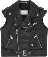 Philipp Plein Embroidered leather biker jacket