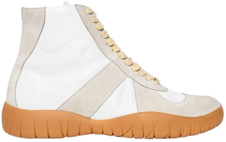 Maison Margiela 20mm Tabi Leather & Suede Sneakers