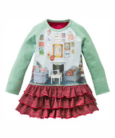 Oilily Green & Red Stripe Turtle Dress - Infant Toddler & Girls