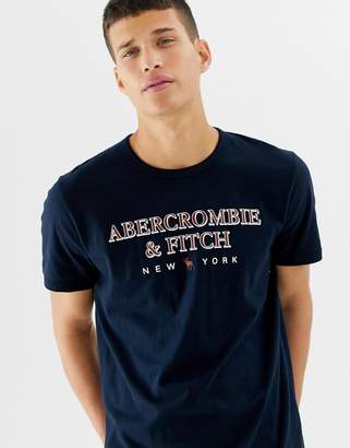 Abercrombie & Fitch large chest logo t-shirt in navy