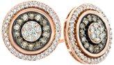 Jewel Zone US Champagne & White Diamond Frame Cluster Stud Earrings In 10k Rose Gold (1/2 Cttw)