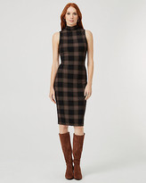 Le Château Check Print Ponte Knit Mock Neck Dress