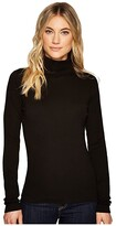 Three Dots Heritage Rib Long Sleeve Turtleneck (Black) Women's Sweater