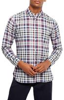 Jaeger Faded Check Stripe Shirt, Grey Melange