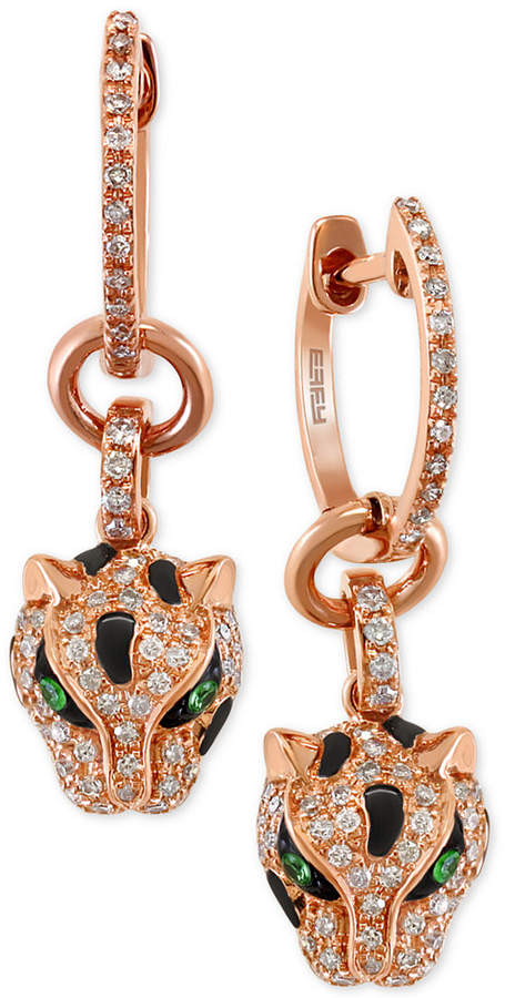 Effy Signature by Diamond (3/8 ct. t.w.) and Tsavorite Accent Panther Drop Earrings in 14k Rose Gold