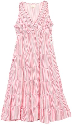 Max Studio Tiered Stripe Midi Dress