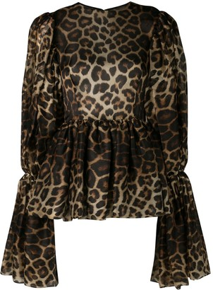 Christian Siriano Leopard Print Bell Sleeve Blouse