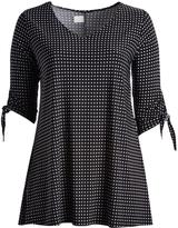 Glam Black & White Dot Tie-Sleeve Tunic - Plus