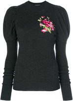 Dolce & Gabbana embroidered puff sleeve sweater - women - Polyester/Viscose/Virgin Wool/Polyimide - 40