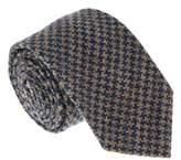 Missoni U5091 Blue/tan Houndstooth 100% Silk Tie.